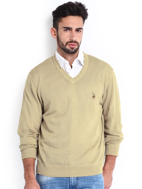 U.S. Polo Assn. Men Beige Linen Sweater