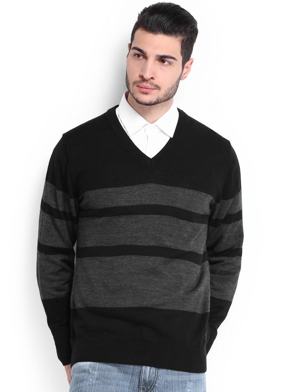 U.S. Polo Assn. Men Black & Grey Woollen Sweater