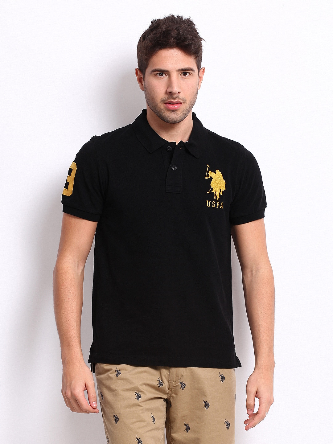 Buy U.S. Polo Assn. Men Black Pique Polo T Shirt - Tshirts ...