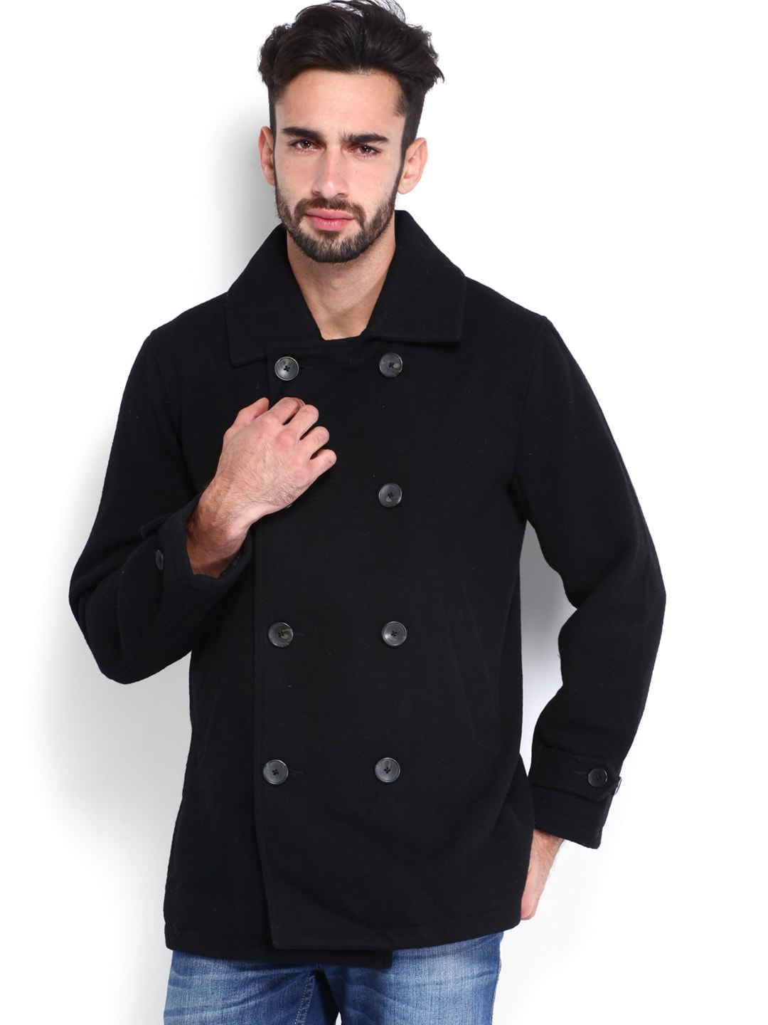 U.S. Polo Assn. Men Black Woollen Coat
