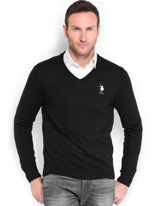 U.S. Polo Assn. Men Black Woollen Sweater