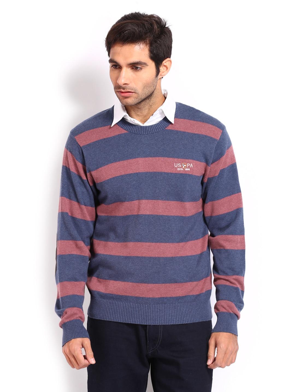 U.S. Polo Assn. Men Blue & Red Striped Sweater