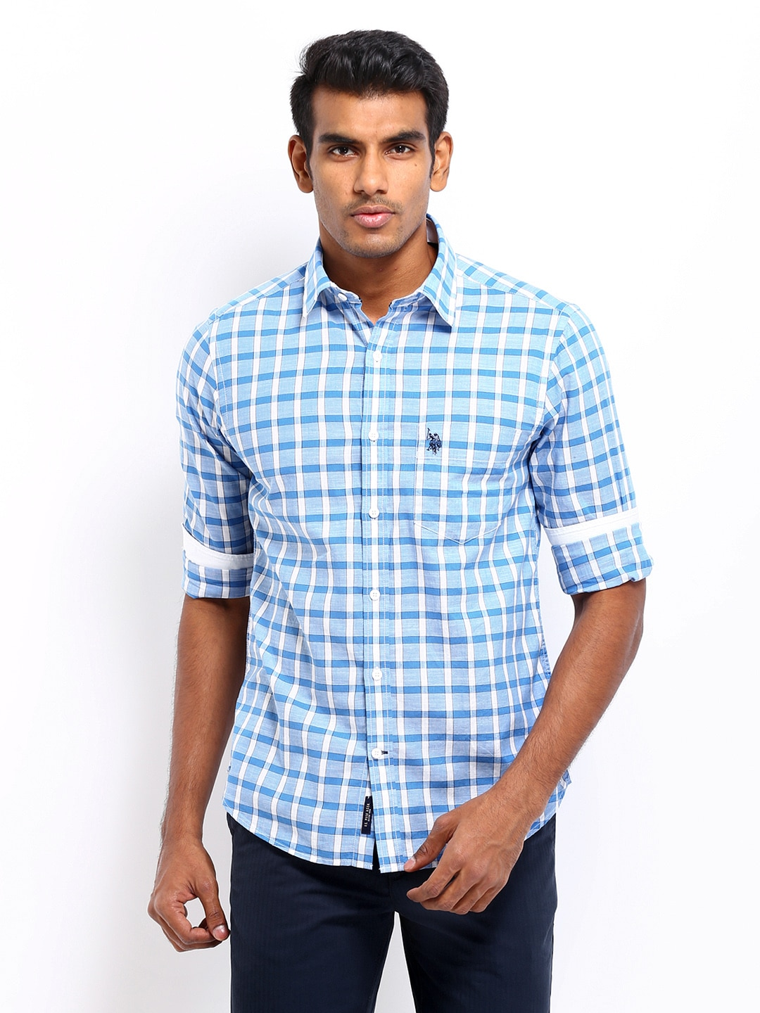 U.S. Polo Assn. Men Blue & White Checked Tailored Fit Smart-Casual Shirt