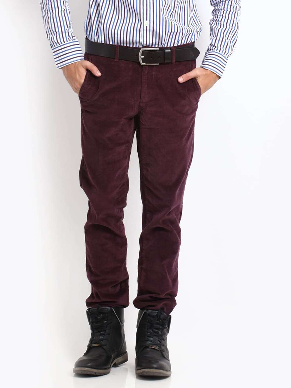 U.S. Polo Assn. Men Burgundy Slim Fit Corduroy Trousers