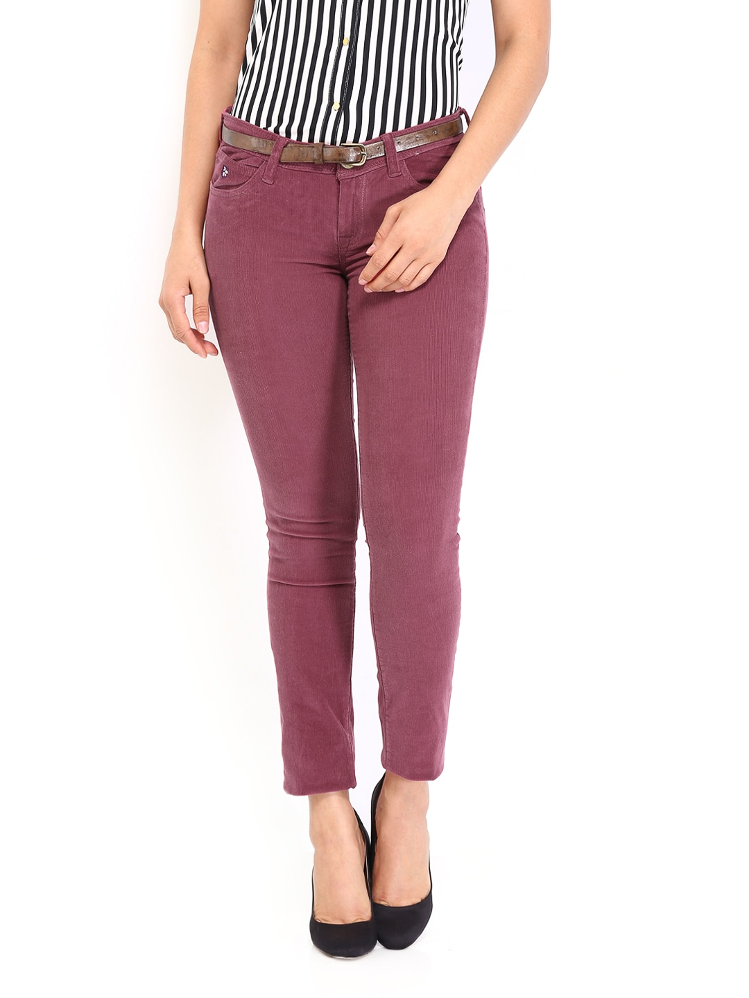 U.S. Polo Assn. Women Burgundy Super Skinny Fit Corduroy Trousers