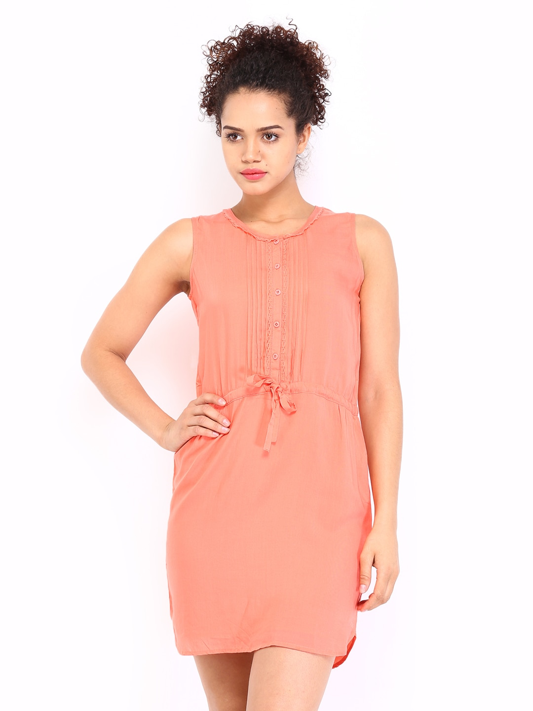 U.S. Polo Assn. Women Coral Pink Fit & Flare Dress