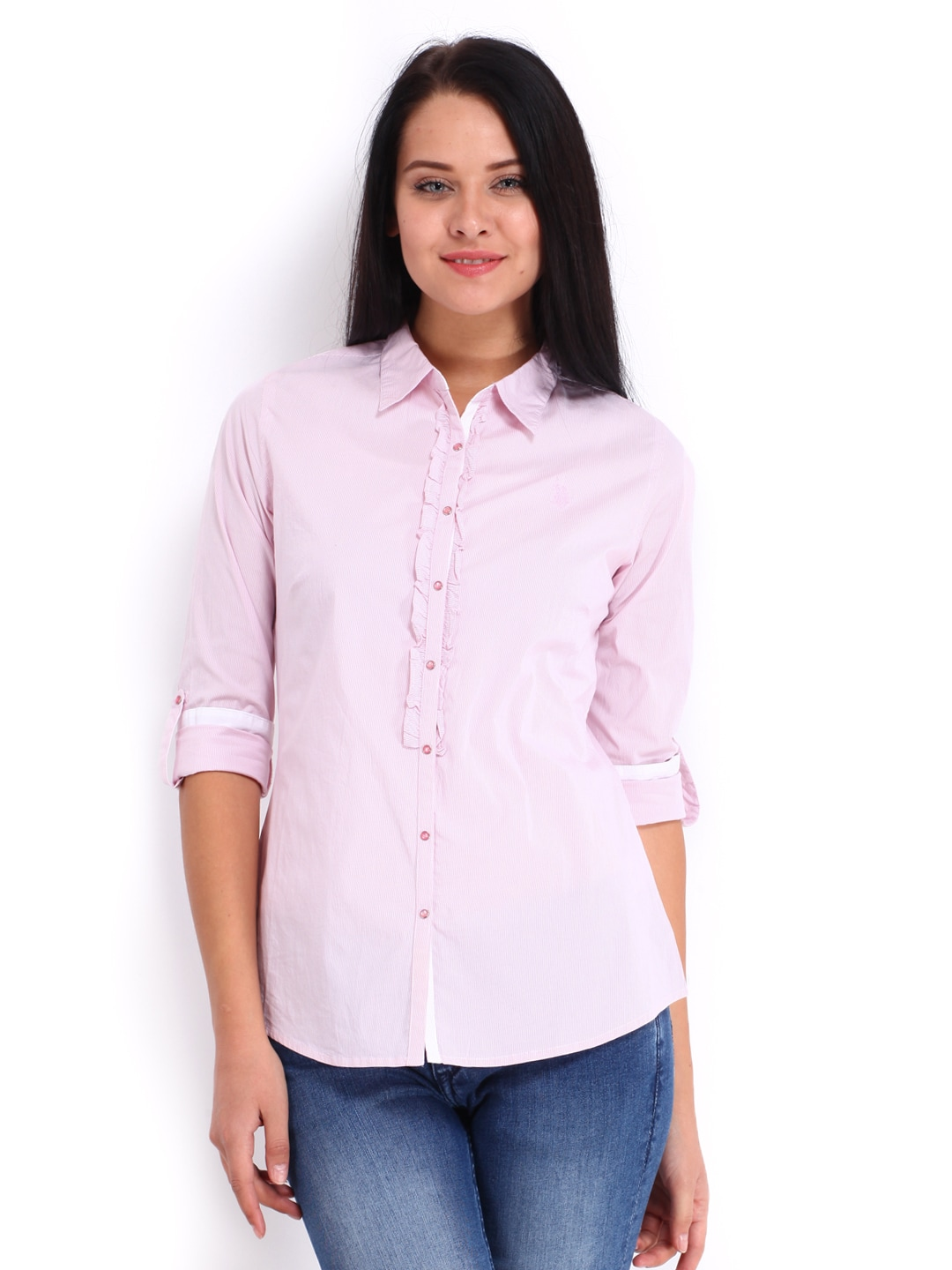 U.S. Polo Assn. Women Pink & White Striped Shirt