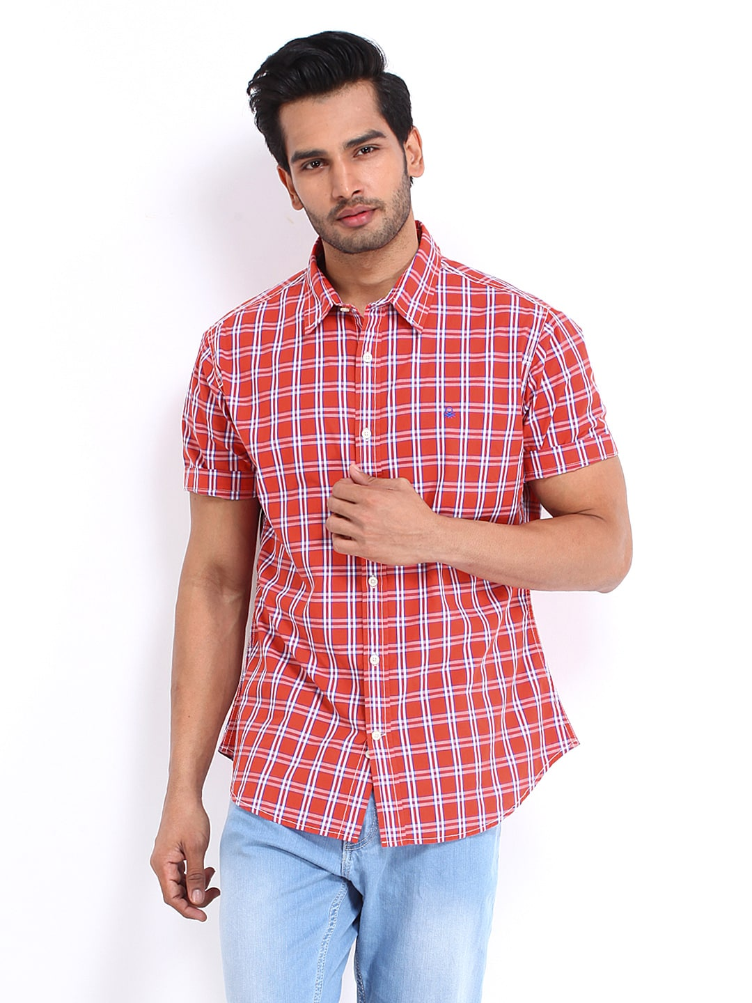 United Colors Of Benetton Men Red  Blue Checked Casual Shirt