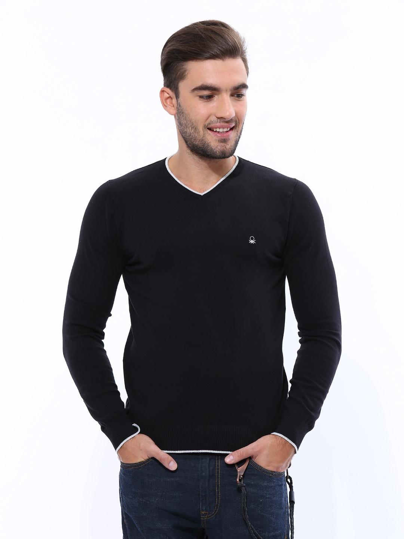 United Colors of Benetton Men Black Sweater
