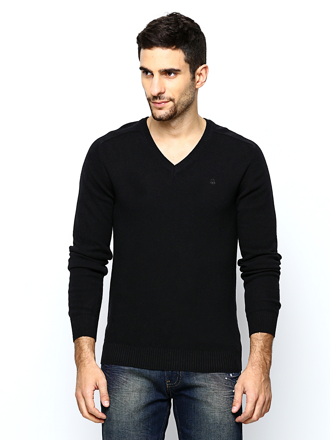 United Colors of Benetton Men Black Wool Blend Sweater