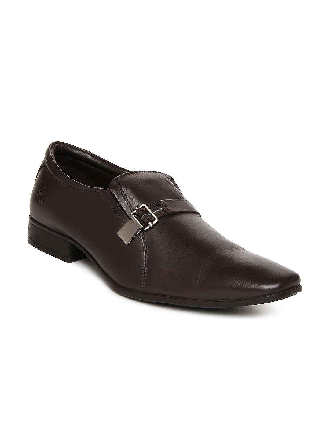 united colors of benetton brown leather semi formal shoes