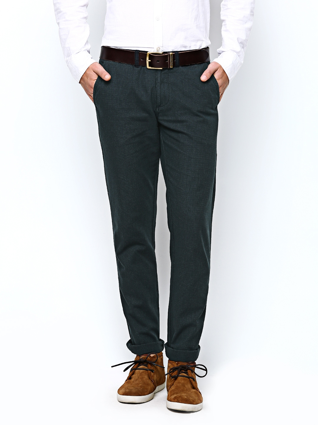 United Colors of Benetton Men Grey Casual Trousers