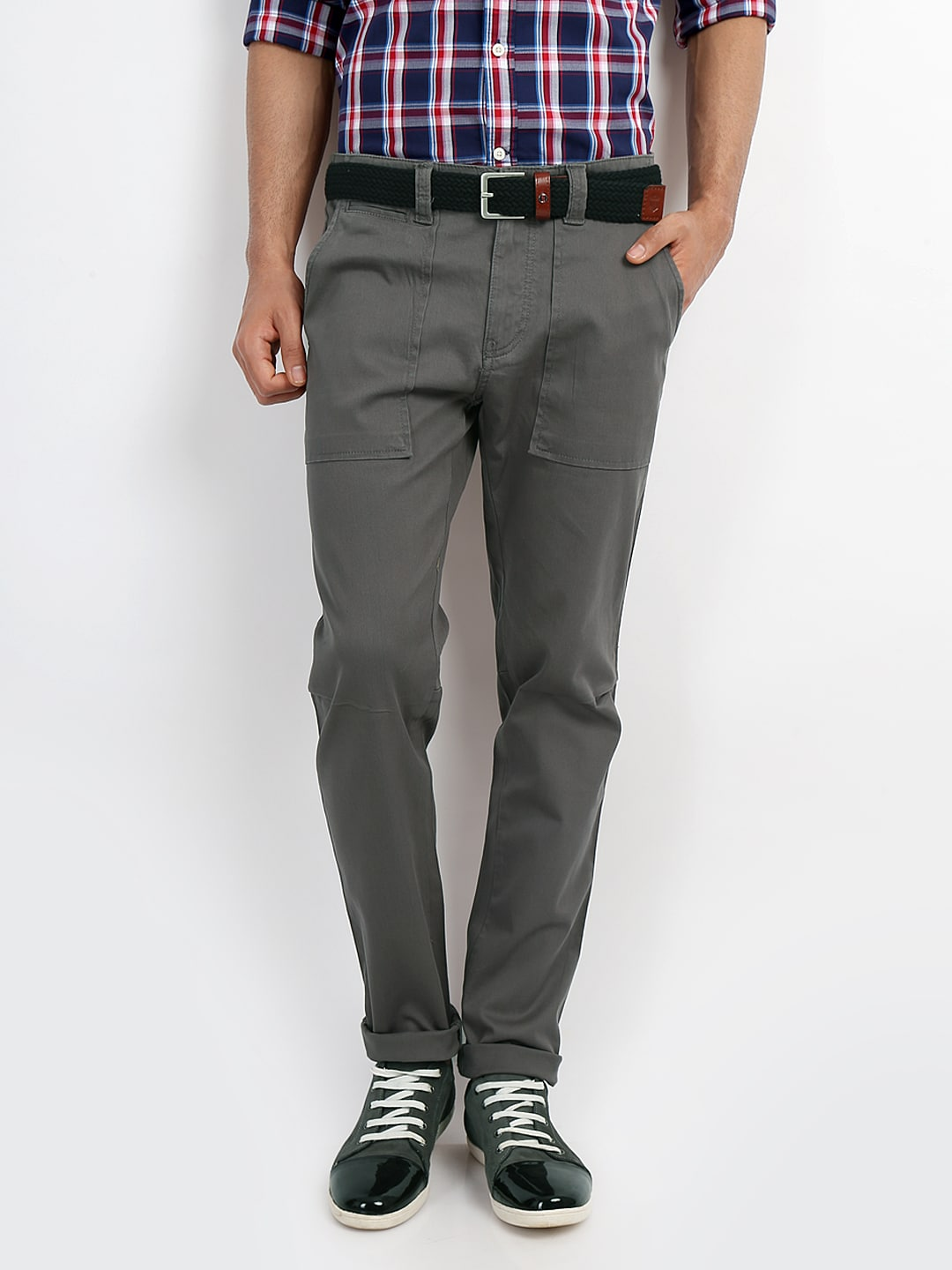 United Colors of Benetton Men Grey Slim Fit Trousers