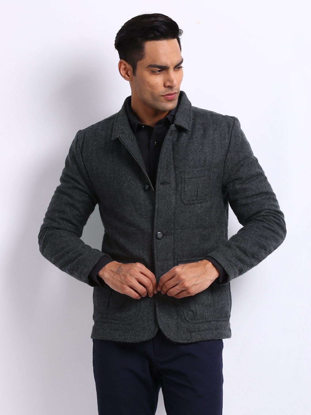 United Colors of Benetton Men Grey Wool Blend Jacket