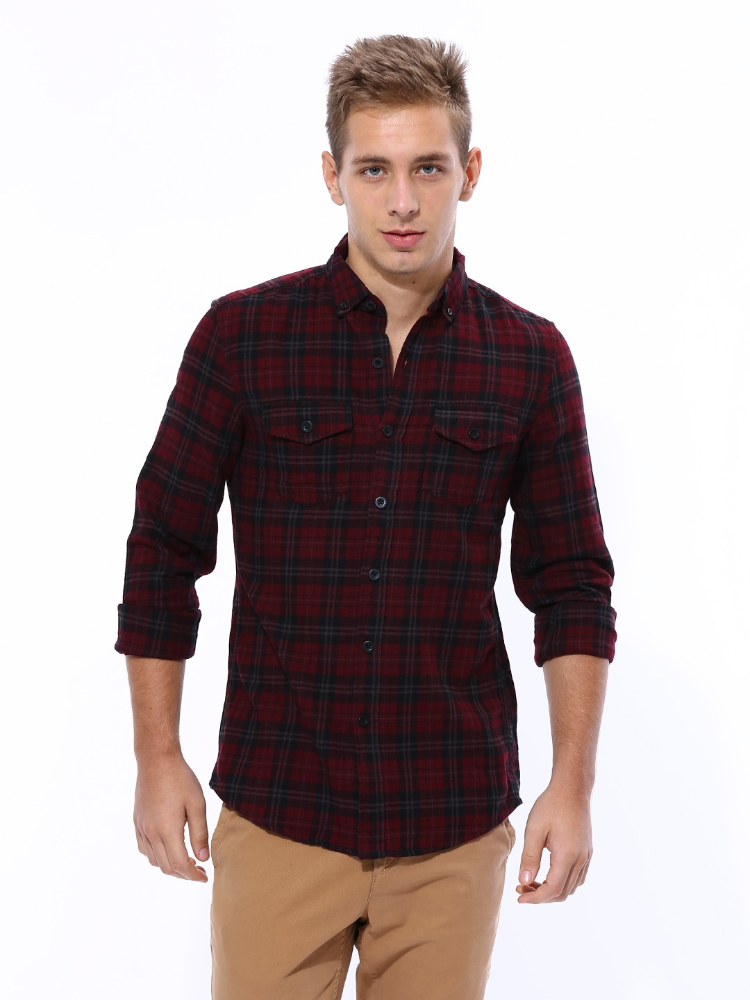 Buy United Colors Of Benetton Men Maroon & Black Checked Casual ...