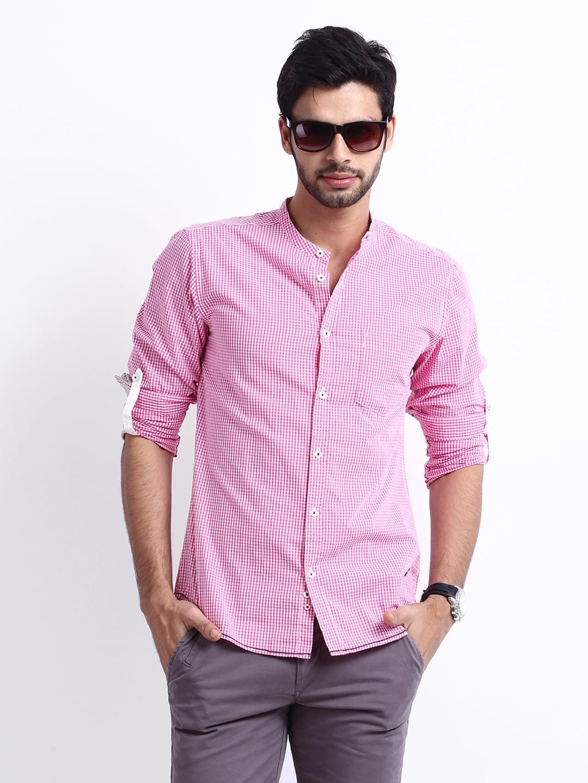 Buy United Colors Of Benetton Men Pink White Gingham