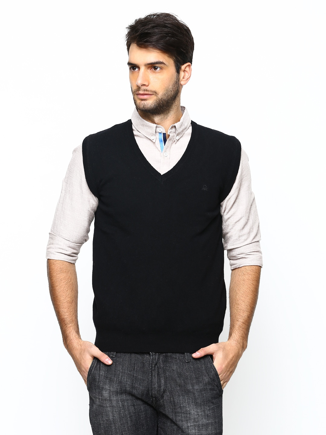 United Colors of Benetton Men Black Sleeveless Lambswool Blend Sweater