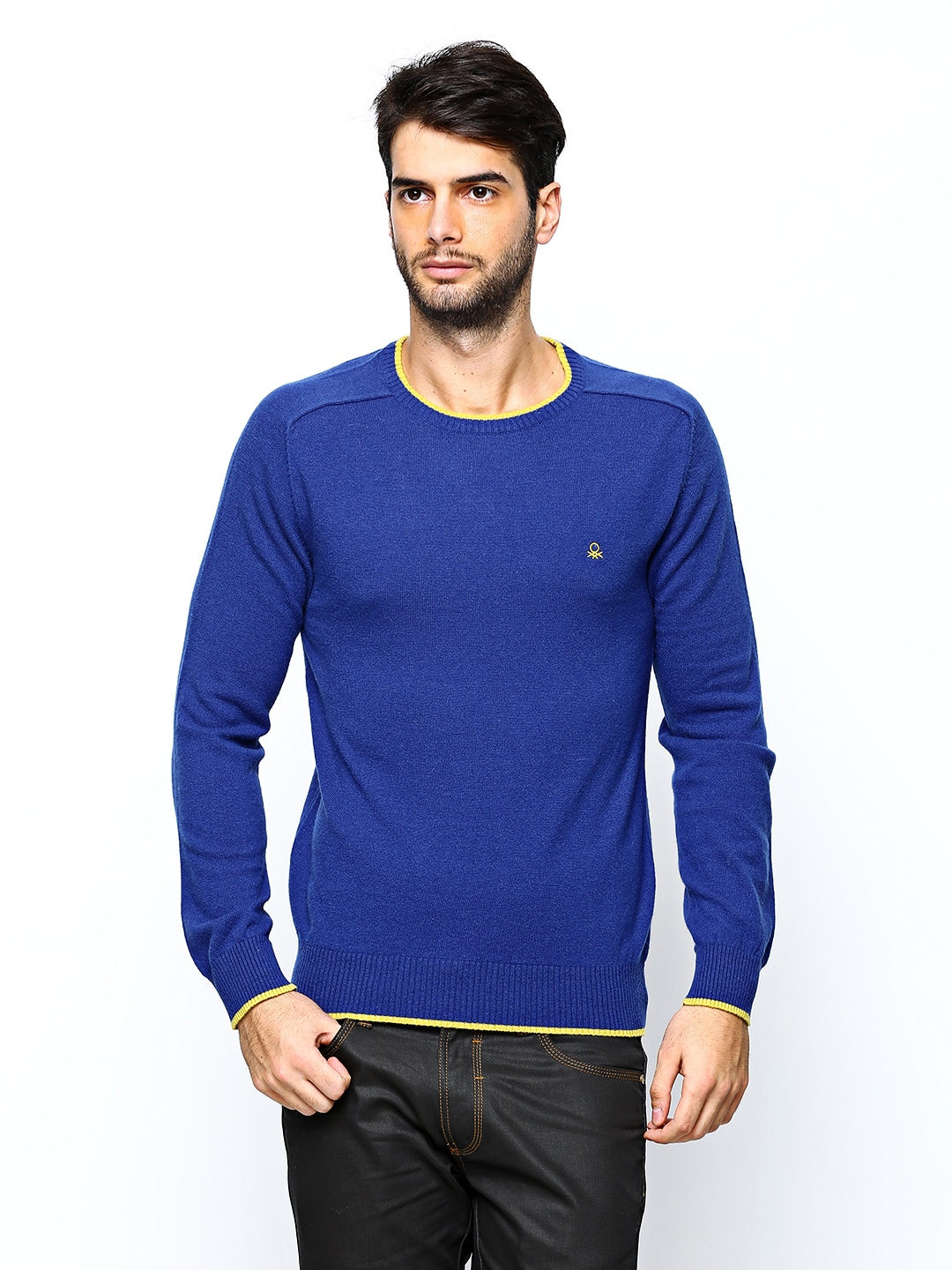 United Colors of Benetton Men Royal Blue Lambswool Blend Sweater