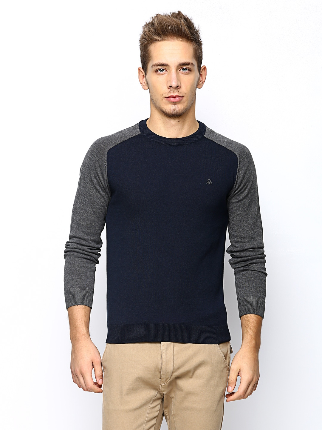 United Colors of Benetton Men Navy Sweater