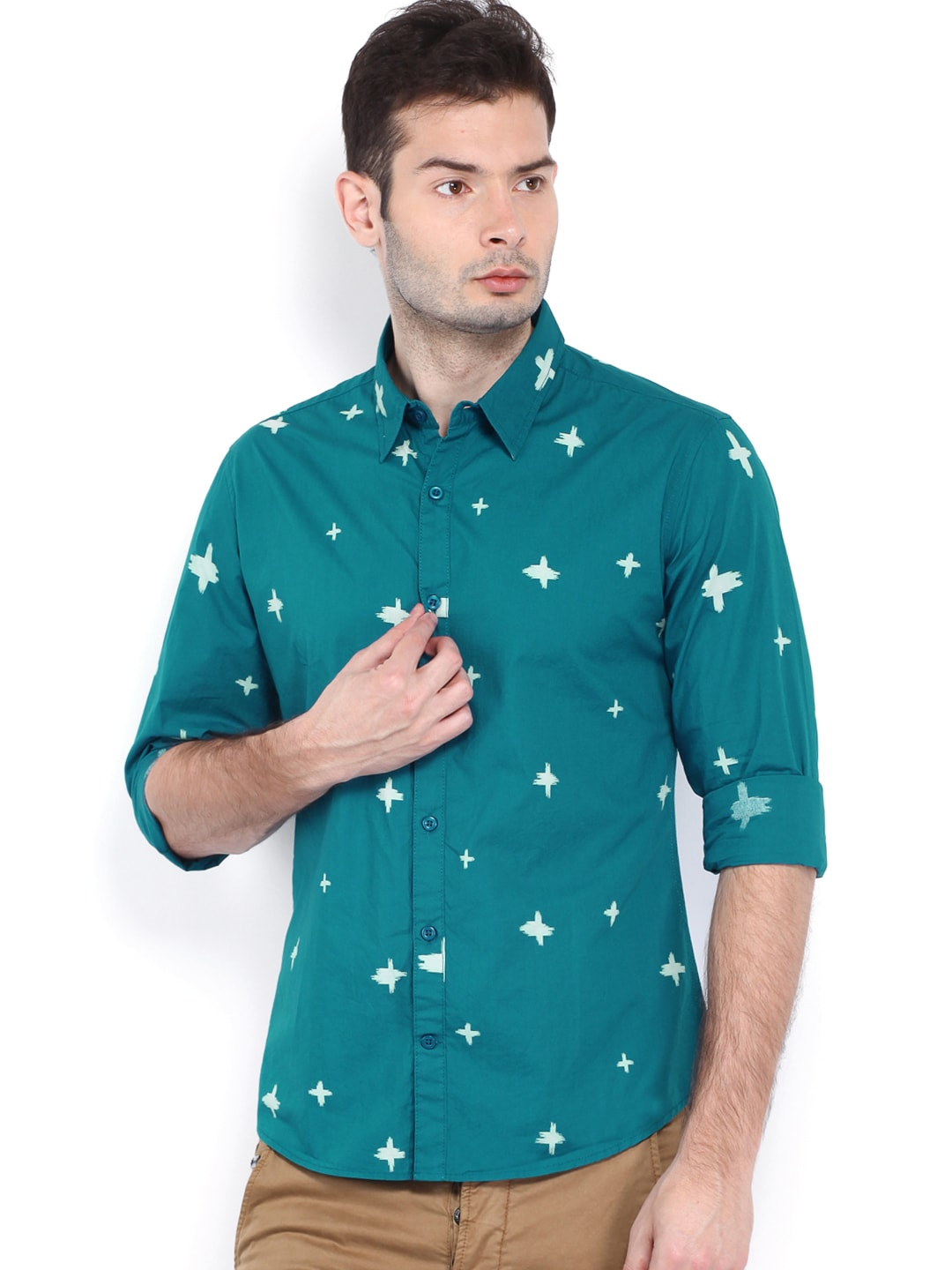 United colors of benetton men teal blue printed casual for Teal mens dress shirt