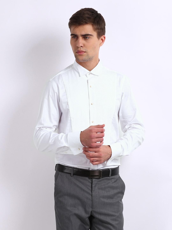 Buy united colors of benetton men white semi formal tuxedo for Tuxedo shirt vs dress shirt