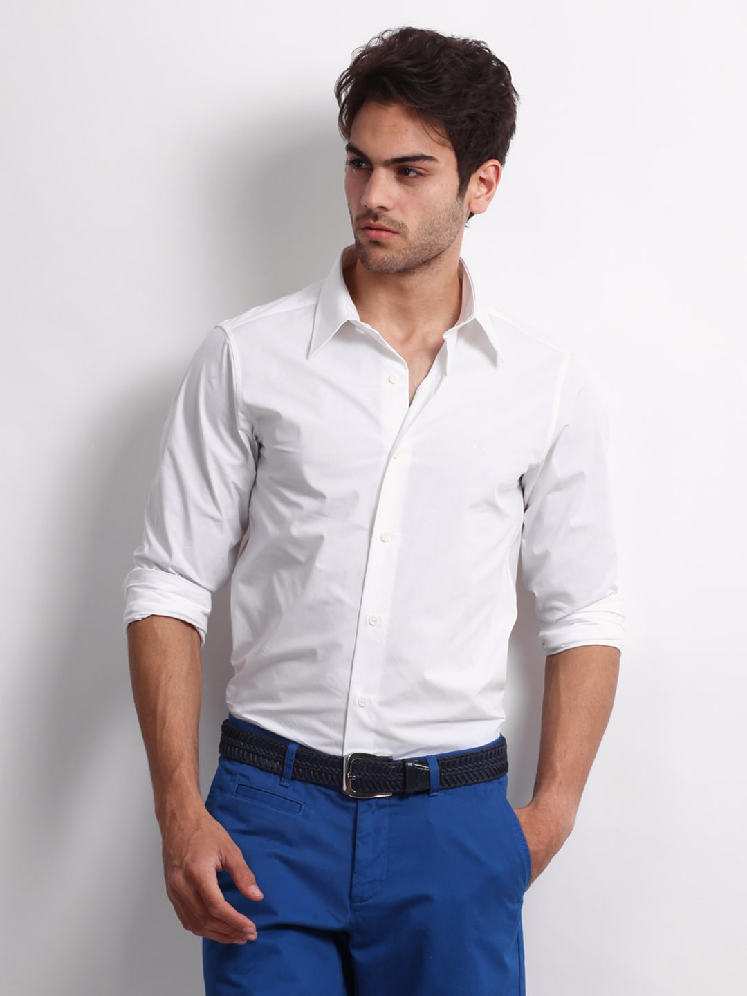 United Colors of Benetton Men White SmartCasual Shirt