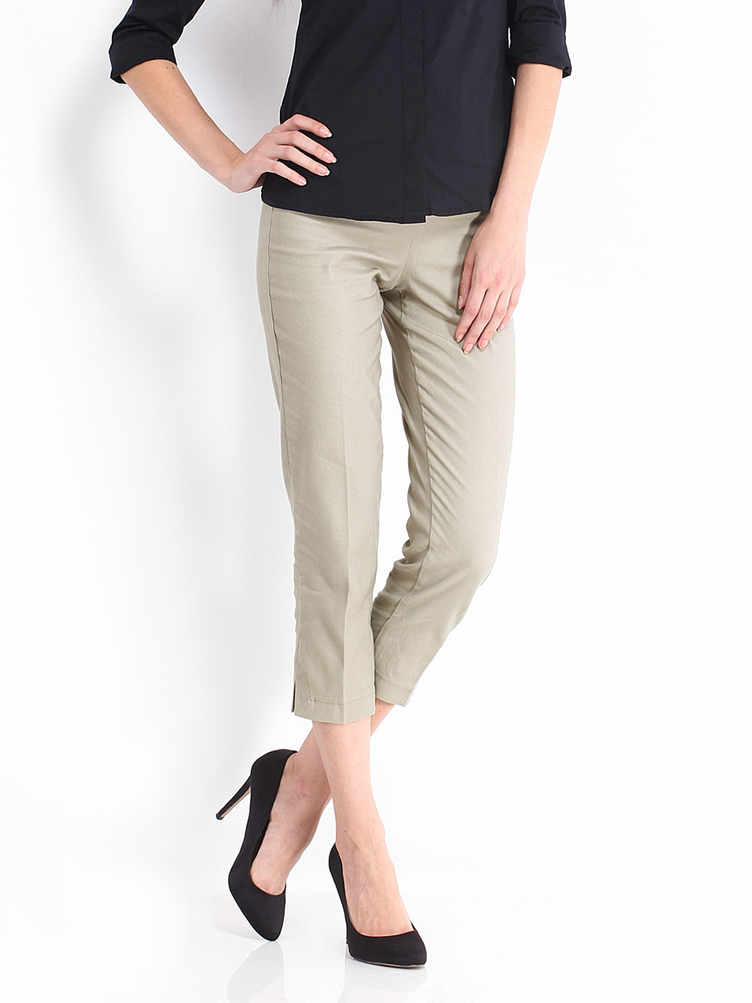United Colors of Benetton Women Beige Cropped Trousers