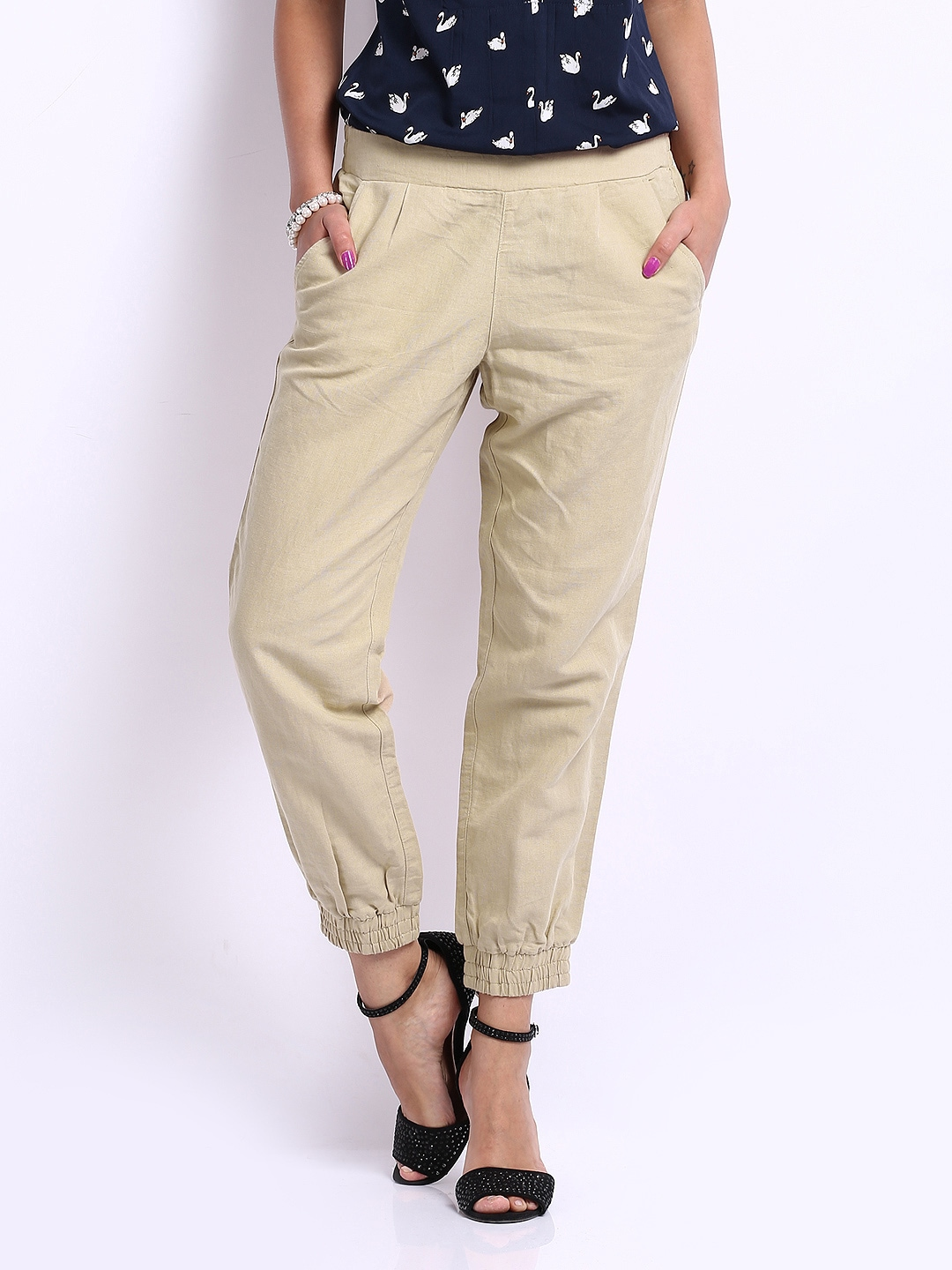 United Colors of Benetton Women Beige Linen Blend Ankle Length Trousers