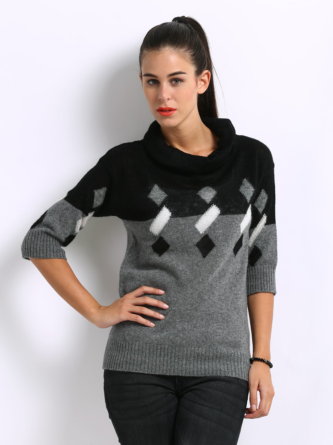 4427e3a5030a Buy United Colors of Benetton Women Black   Grey Sweater (multicolor ...