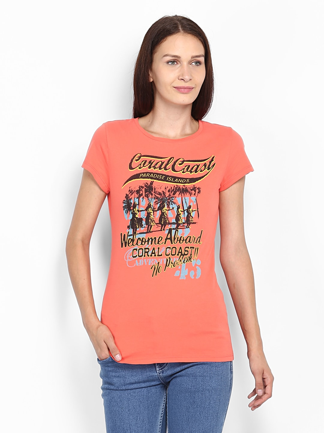 Buy united colors of benetton women coral orange printed t for Coral t shirt womens