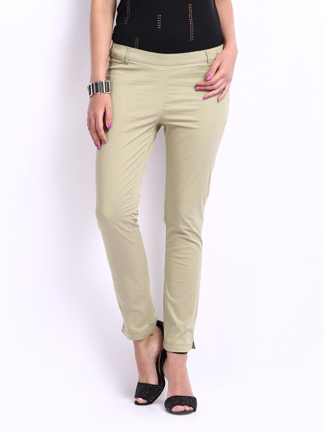 United Colors of Benetton Women Khaki Slim Fit Trousers