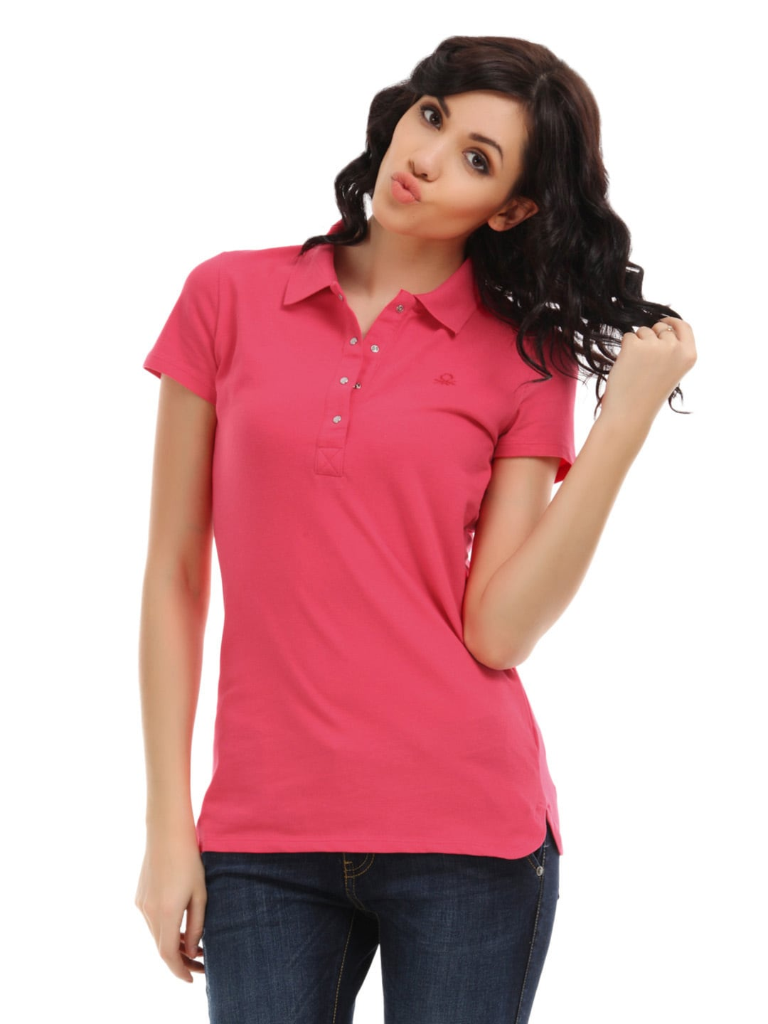 Buy United Colors Of Benetton Women Pink Pique Polo T Shirt 207 Apparel For Women 104420