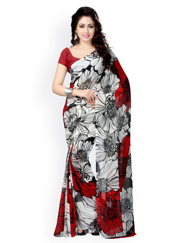 Buy Vaamsi Black & White Georgette Printed Saree