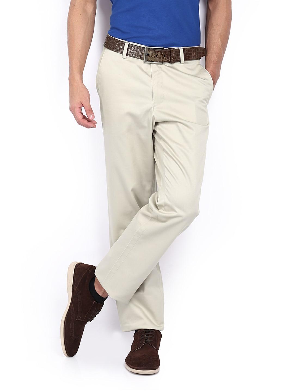 Van Heusen Men Beige Custom Fit Trousers