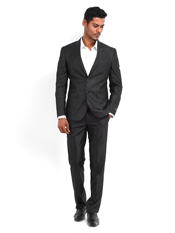 Buy Van Heusen Men Charcoal Grey Slim Fit Single Breasted Suit ...