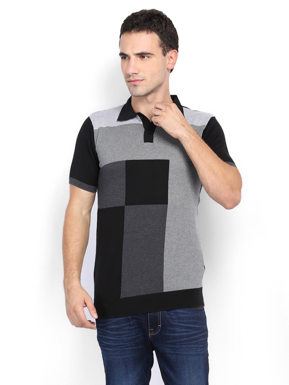 Van Heusen Men Grey  Black Polo Tshirt