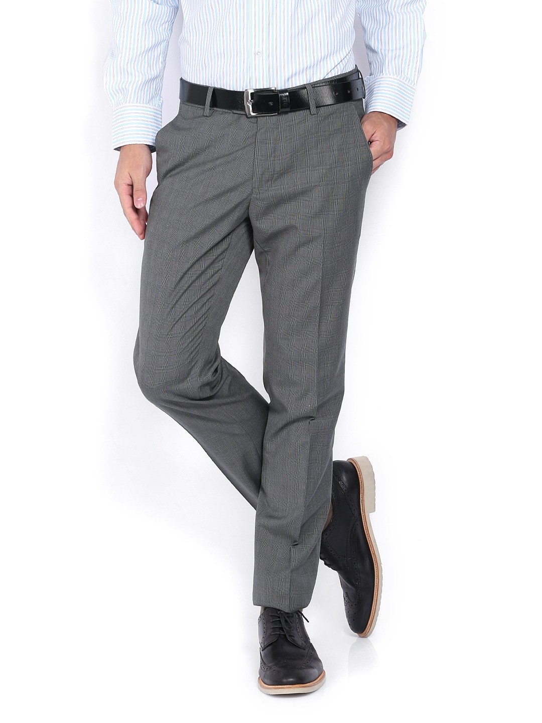 Buy Van Heusen Men Grey Ultra Slim Fit Formal Trousers 1329490 for ...