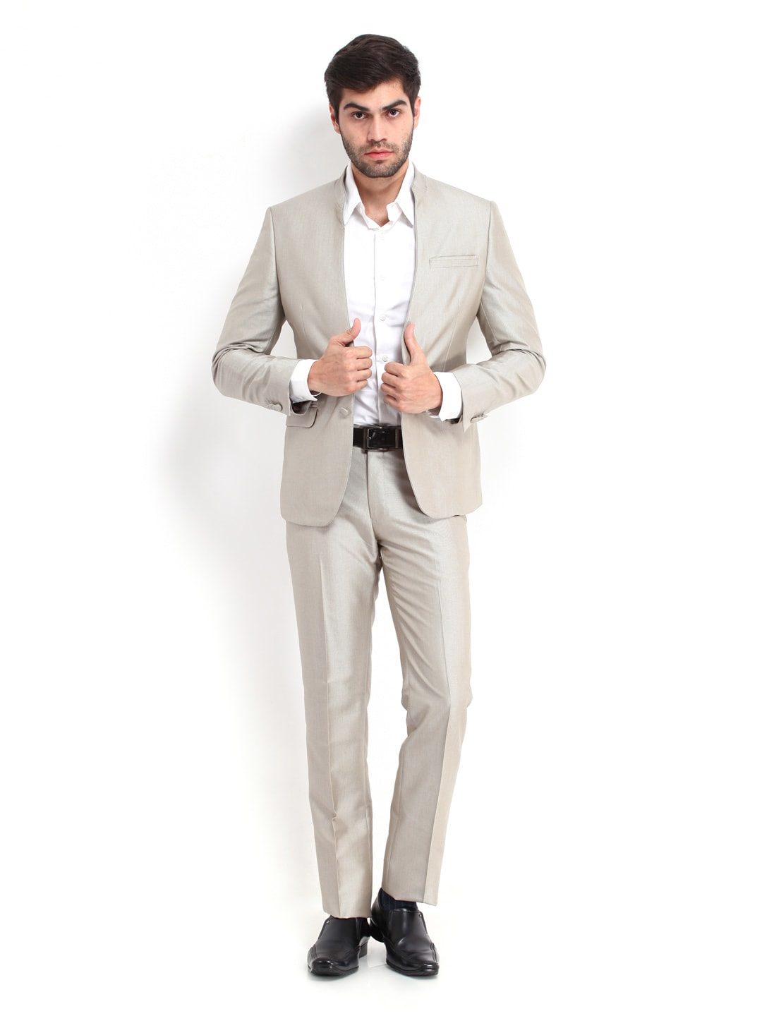 Buy Van Heusen Men Light Grey Slim Fit Single Breasted Suit