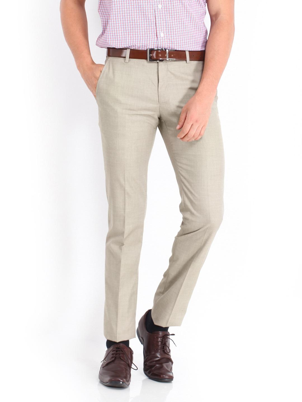 Van Heusen Men Beige Ultra Slim Fit Formal Trousers
