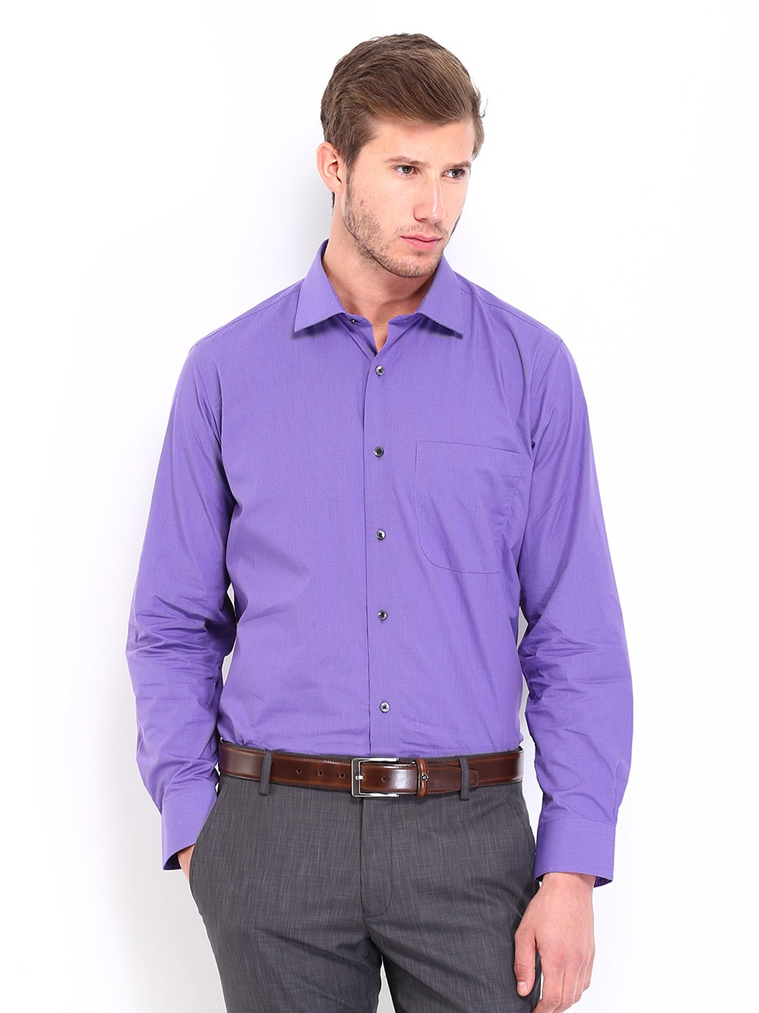 7e564ec9d53 Buy Van Heusen Men Purple Checked Custom Fit Formal Shirt (violet ...