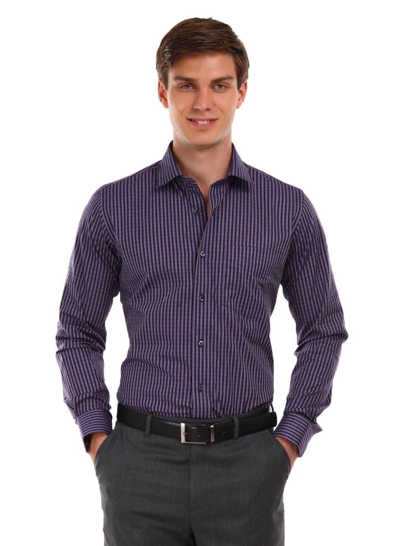 Buy Van Heusen Ceremony Men Purple Grey Striped Shirt