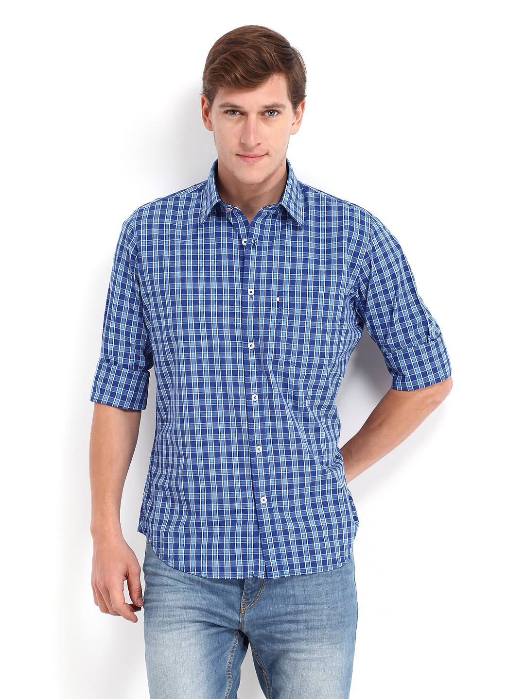 63bfc3f2 Buy Van Heusen Sport Men Blue Checked Slim Fit Casual Shirt ...