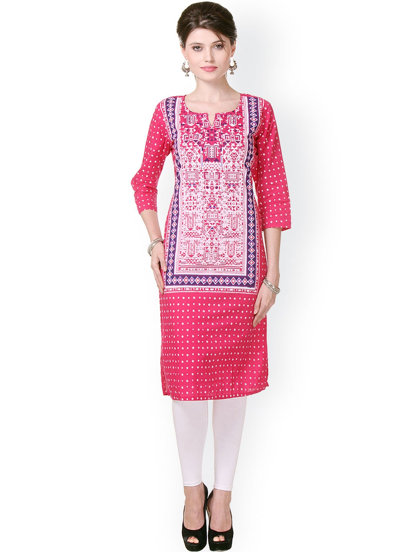Buy Varanga Pink & White Printed Kurta