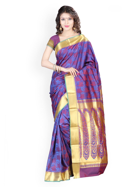 Varkala Silk Sarees Blue & Red Jacquard Art Silk Traditional Saree