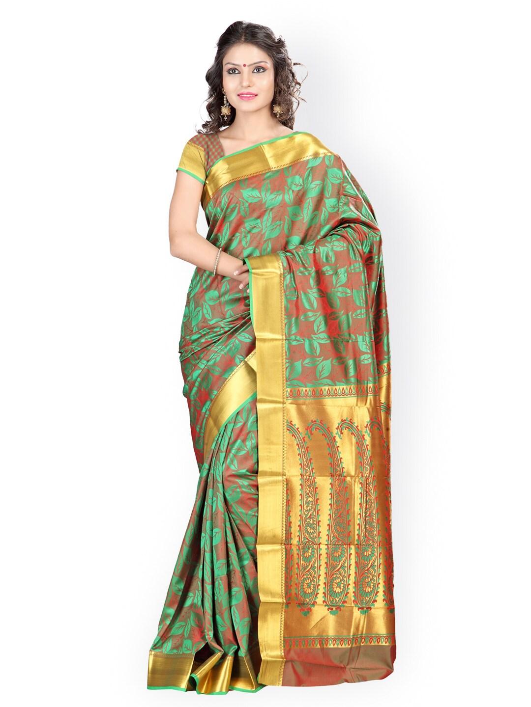 Varkala Silk Sarees Green & Brown Art Silk & Jacquard Traditional Saree