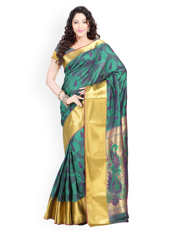 Varkala Silk Sarees Green & Purple Jacquard Art Silk Traditional Saree