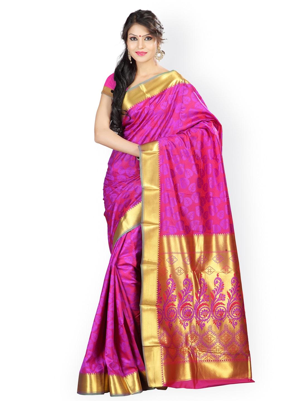 Varkala Silk Sarees Magenta & Purple Art Silk & Jacquard Traditional Saree