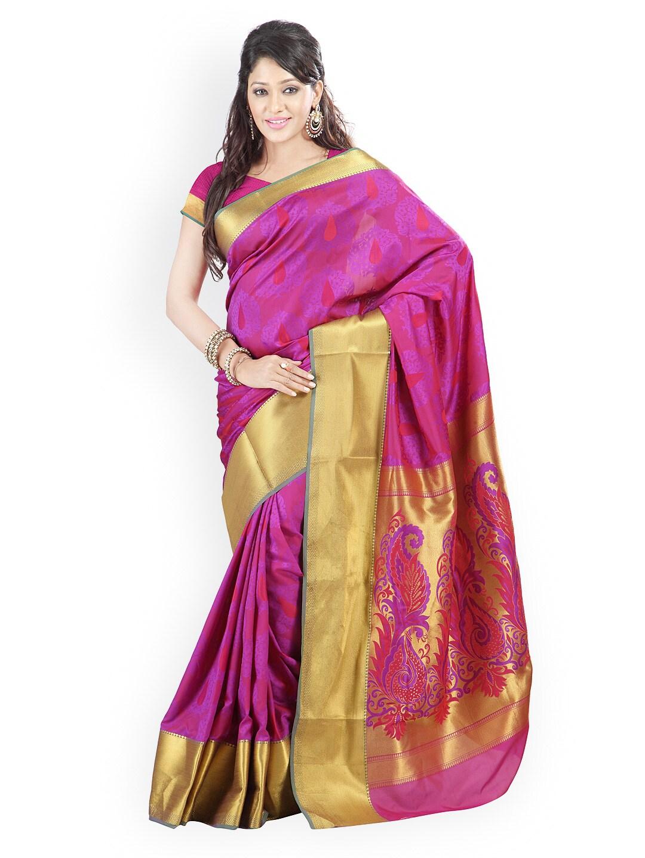 Varkala Silk Sarees Purple Jacquard & Silk Traditional Saree