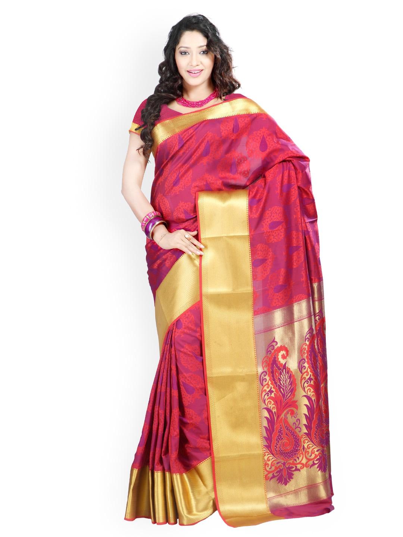 Varkala Silk Sarees Red & Purple Jacquard Art Silk Traditional Saree