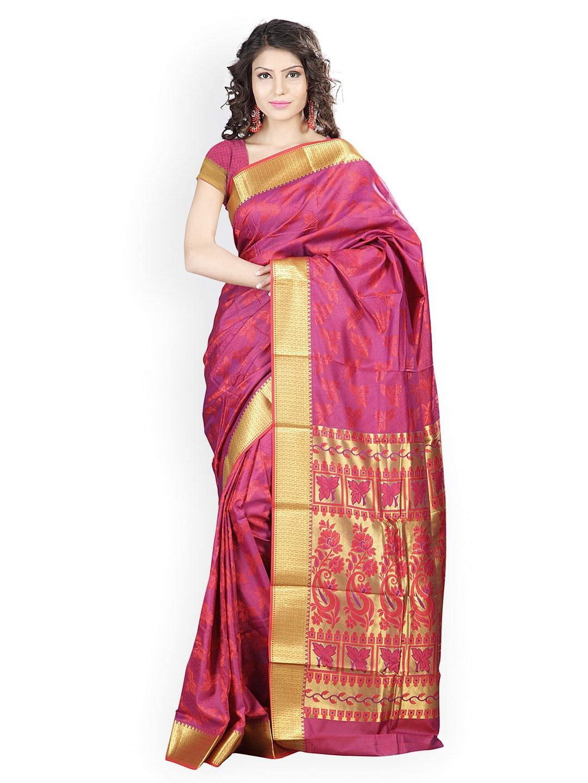 Varkala Silk Sarees Red Jacquard & Silk Traditional Saree